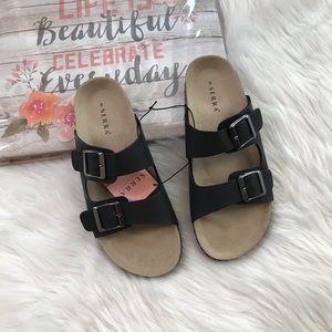 *NWT* Ladies Black Footbed Sandals | Size 8